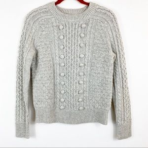 J.CREW Gray Popcorn Cable-Knit Sweater